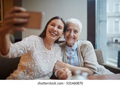 Selfie of senior friends