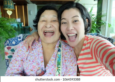 Selfie Senior woman with daughter