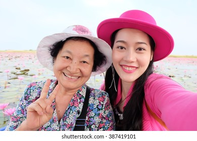 Selfie Senior woman with her daughter