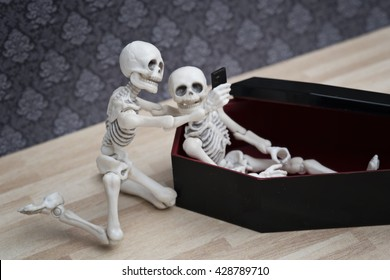 Selfie, skeleton self portrait with his dead friend in the coffin