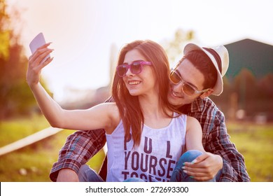 Selfie with Smartphone, Happy Young Couple