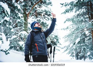 Selfie at snow before ski session
