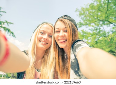Selfie! - Two best friends taking a self portrait as memory from a travel