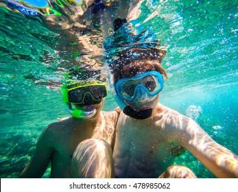selfie underwater at seaside