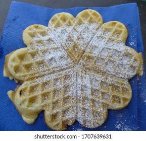 selfmade waffle with powder sugar