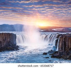Selfoss waterfall. Beauty of the world. Wonderful landscape in Iceland. Beautiful dawn. Famous Tourist Attraction