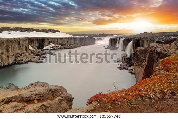 Selfoss waterfall in Vatnajokull National Park, Northeast Iceland