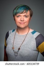 Self-portrait by a transgender model, taken in a studio