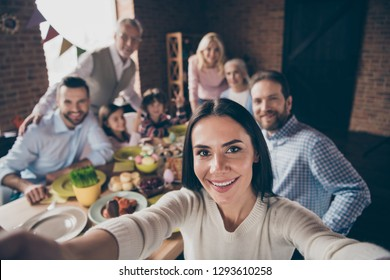 Self-portrait of nice attractive adorable lovely cheerful positive family small little brother sister enjoying dream weekend vacation party morning day in loft industrial interior