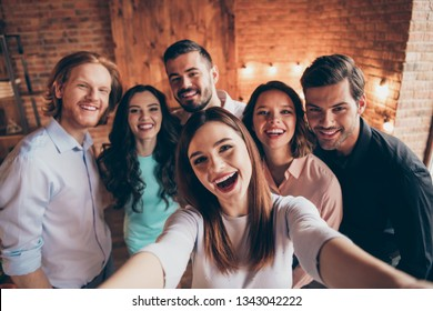 Self-portrait of nice attractive lovely charming winsome cheerful cheery glad ecstatic positive ladies gentlemen having fun embracing house event dream in industrial loft interior room indoors