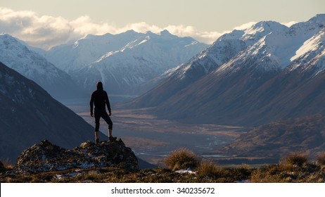 Selfportrait at Peak Hill. South Island of New Zealand