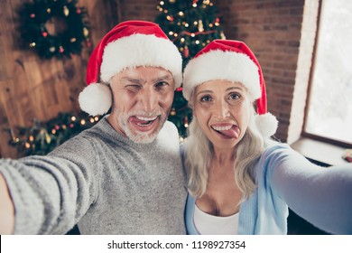 Self-portrait of two beautiful charming cheerful glad positive grey-haired people married spouses granddad grandma showing tongue out winking blinking near eve noel fir tree