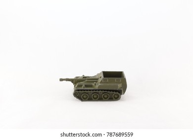 Self-propelled gun model on a white background
