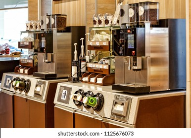 self-service area, coffee machine in the cafeteria or at the gas station, Coffee Shop, Cafeteria, Restaurant, Service Concept