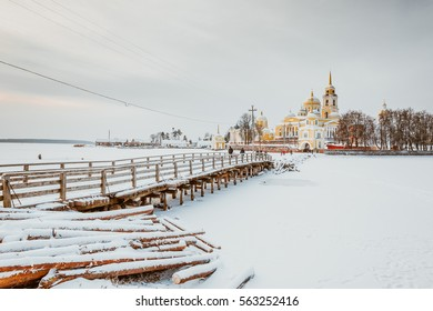 Seliger church complex in winter - silent rural landscape