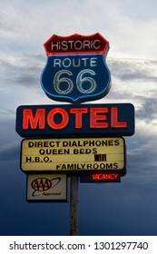 Seligman, Arizona 07/20/2013 Old fashioned neon sign advertising the Route 66 Motel, a Seligman landmark