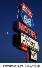 Seligman, Arizona 09/22/2009 Old fashioned neon sign advertising the Route 66 Motel, a Seligman landmark