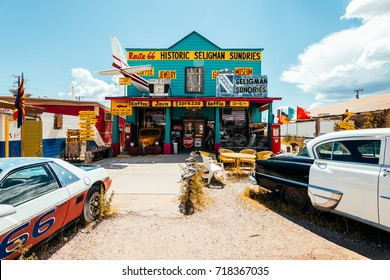 SELIGMAN, ARIZONA. 27th August, 2017: famous seligman town crossed by route 66 at arizona, usa