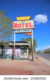 SELIGMAN, ARIZONA - AUGUST 16, 2014: Azteca Motel sign on Historic Route 66 on August 16, 2014 in Seligman, AZ. The town of Seligman retains all the flavor of the historic Route 66.