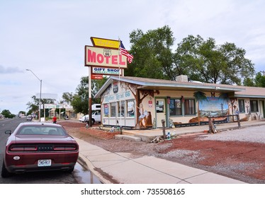 Seligman, Arizona - July 24, 2017: Azteca Motel sign on Historic Route 66. The town of Seligman retains all the flavor of the historic Route 66.
