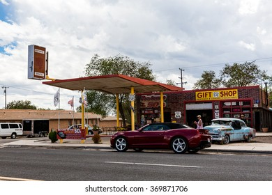 SELIGMAN, ARIZONA - SEPTEMBER 6: Views of the route 66 decorations in the city of Seligman in Arizona on September 6, 2015. Seligman is a small city along the historic route 66, now it is Freeway 40.
