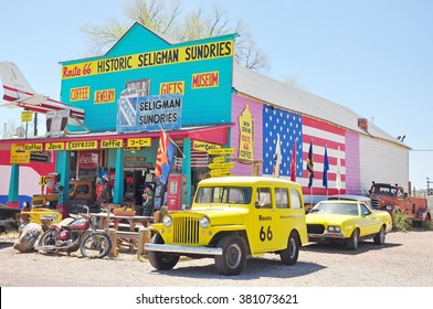 SELIGMAN, ARIZONA, USA - APRIL 17, 2014 : Views of the route 66 decorations in the city of Seligman in Arizona. Seligman is a small city along the historic route 66, now it is Freeway 40.