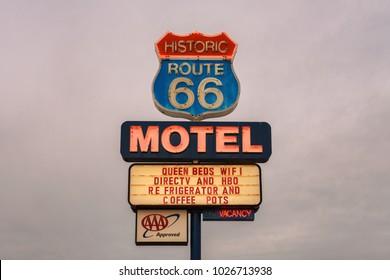 Seligman, Arizona, USA - January 2, 2018 : Vintage neon motel sign on historic Route 66