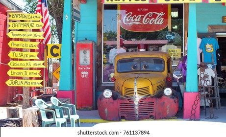 Seligman, Arizona, USA, June 23, 2013: A vintage truck in front of Seligman Sundries Gift Shop on Route 66.