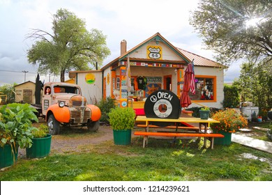 Seligman, Arizona / USA - October 12 2018:  Decorated cafes on the Historic route 66.  Vintage on the road in California.