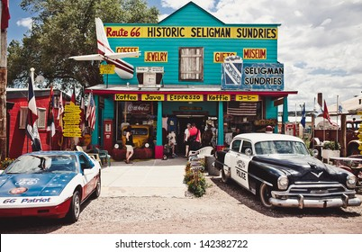SELIGMAN - AUGUST 3: The Historic Seligman Sundries on August 3, 2012 in Seligman, Arizona. Built in 1904, today, the Seligman Sundries is Seligman�¢??s only gourmet coffee bar and gift shop.