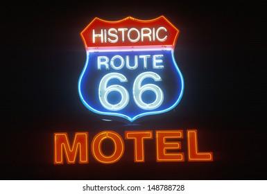 SELIGMAN, AZ - CIRCA 2000's: Route 66 Motel neon sign at night, Seligman, AZ.