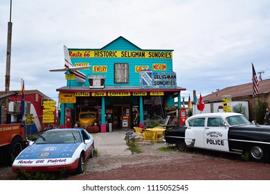 Seligman, AZ, Usa - July 24, 2017: 1953 Chrysler Police Car in front of Historic Seligman Sundries Cafe on Route 66, Arizona.
