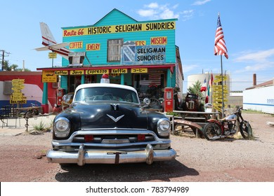 Seligman, USA - July 7, 2017: Decorations in the city of Seligman in Arizona at the historic Route 66 on July 7, 2017. The historic route 66 is now Freeway 40.