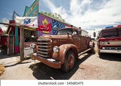 SELIGMAN, USA - June 8: Famous stop of the Route 66 on June 8, 2013 in Seligman. Famous as origin of historic Route 66 and inspiration for the town of Radiator Springs in the Pixar movie Cars.