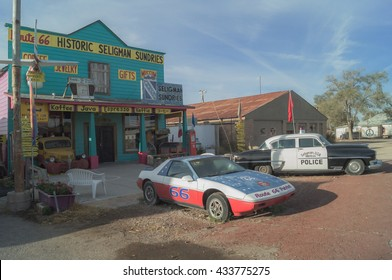 Seligman,Arizona,USA,October 25,2015: Views of the route 66 decorations in the city of Seligman in Arizona.