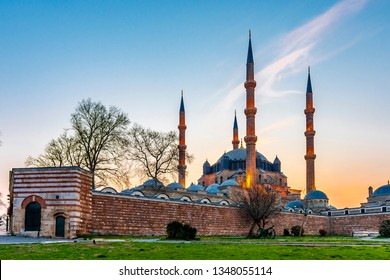 Selimiye Mosque view in Edirne City of Turkey. Edirne was capital of Ottoman Empire.