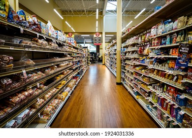 Selinsgrove, PA - February 2021: empty aisle in a Weis Markets grocery store
