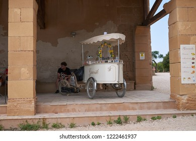 Selinunte, Italy - September 02, 2018: Ice cream and granita kiosk at selinunte archaeological park