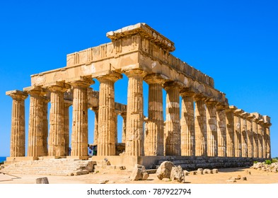 Selinunte, Sicily, Italy. Acropolis of Selinunte on the south coast of Sicily in Italy. Temple of Hera ruins of Doric style architecture.