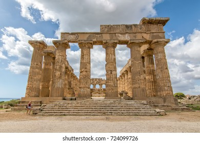 SELINUNTE, SICILY (ITALY) - September 2017 - People visiting the ancient ruins of Hera's Temple in Selinunte.