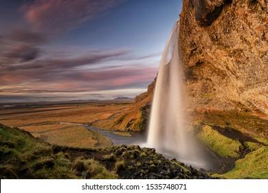 Seljalandsfoss iconic waterfall in Iceland