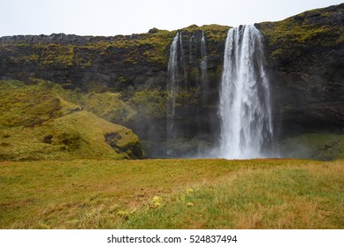 Seljalandsfoss, Powerful waterfall and famous natural landscape in Southern Iceland