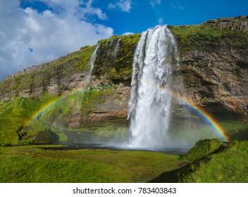 Seljalandsfoss waterfall from the base, Iceland