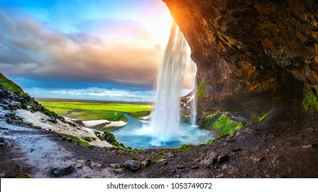 Seljalandsfoss waterfall during the sunset, Beautiful waterfall in Iceland.