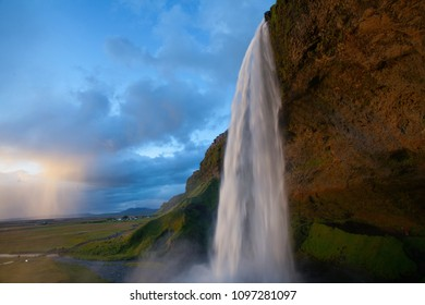 Seljalandsfoss waterfall during the sunset, Iceland
