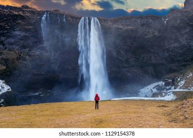 Seljalandsfoss waterfall in Iceland. Guy in red jacket looks at Seljalandsfoss waterfall.