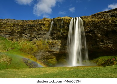 Seljalandsfoss waterfall, a popular and famous falls in south Iceland