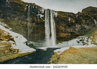 Seljalandsfoss waterfall in wintertime