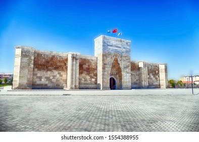 Seljuk design of stone caravansary khan in Cappadocia, Turkey