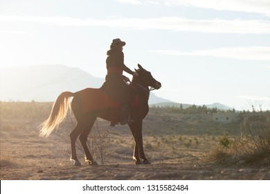 Seljuk and Otttoman soldier with horse,  Silhouette of man riding horse at sunset